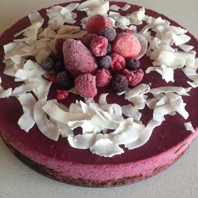 "Autoimmune friendly coconut raspberry ""cheesecake"""