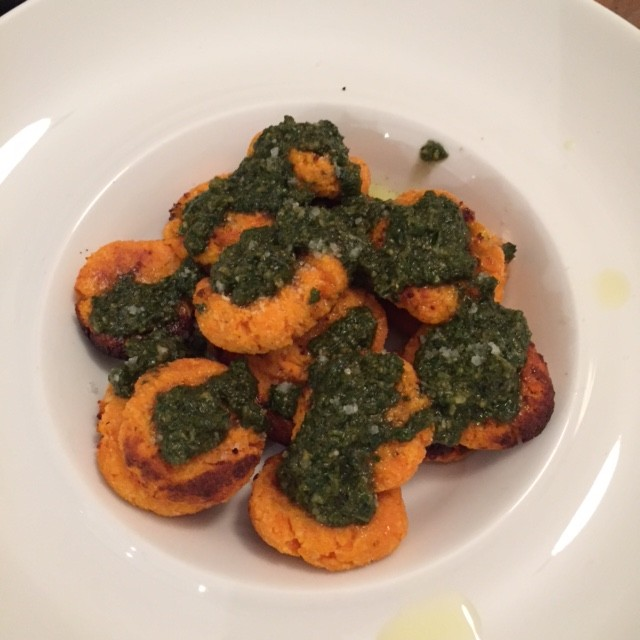 "Healthy Sweet Potato ""Gnocchi"" with Iggy's Pesto"